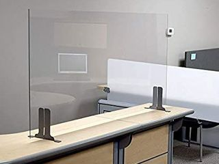 Post Pandemic Partitions Commercial Grade Freestanding Antimicrobial Desk  Table  Countertop Clear Acrylic Sneeze Guard Personal Protection Shield   30 W x 24 H