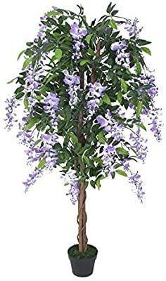 AMERIQUE Purple Gorgeous 6  Silk Wisteria Tree Artificial Plant Pre Nursery Pot  Real Touch Tech