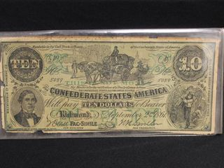 CONFEDERATE STATES AMERICA, September 2nd 1801, Will Pay Ten Dollars to Bearer