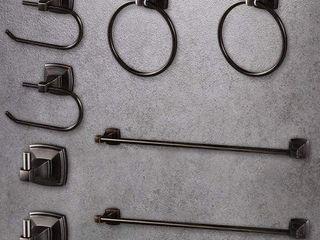 lUCKUP OIl RUBBED BRONZE 8 PC BATHROOM ACCESSORY