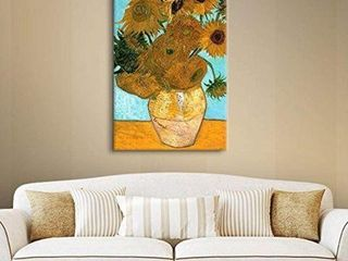 SUNFlOWERS IN A VASE PAINTING BY VINCENT 12 X18