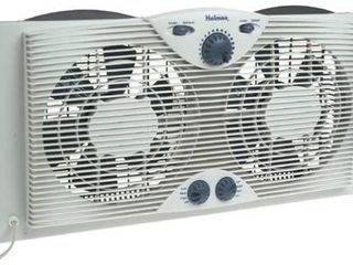 HOlMES TWIN WINDOW FAN WITH THERMOSTAT