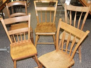 5 antique wood chairs of different designs