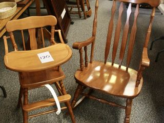 Roxton high chair and rocking chair