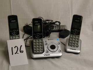 Box of V Tech phones and base   untested