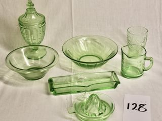 Collection of Green Depression Glass