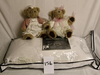 King Size Pillow with 2 Collectible Bears
