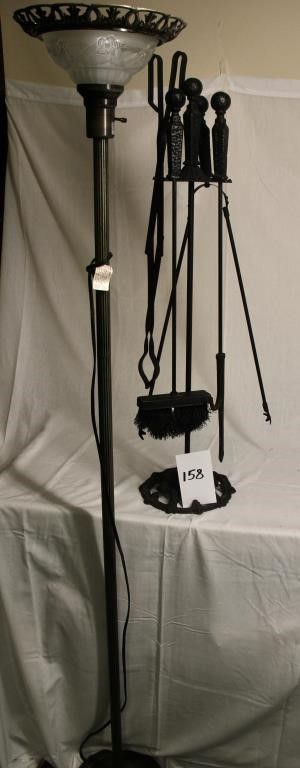 Black cast iron 5 piece fireplace set   floor lamp
