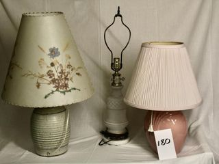 3 table top lamps with 2 shades