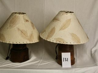 2 turned pine bedside lamps with shades