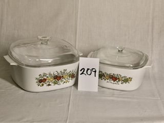 2 Corning ware casseroles with dishes