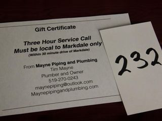 Gift Cert  for Mayne Piping and Plumbing