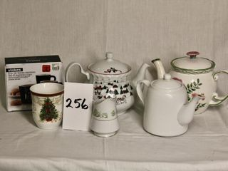 3 Tea Pots  one with Christmas theme  PlUS