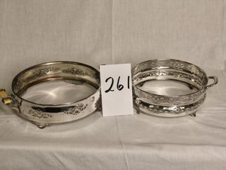2 silver plate serving dish holders