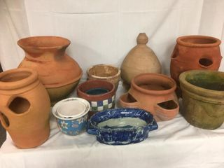 Asst Clay Pots including a few strawberry pots