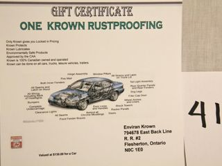 Gift Certification for one Krown Rustproofing