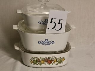 Set of three Corningware casseroles with lids