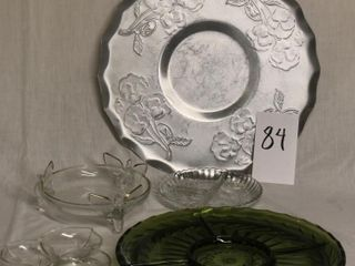 2 large relish plates plus small candy dishes
