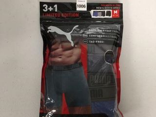 4 PCS PUMA MENS BOXER BRIEFS SIZE MEDIUM