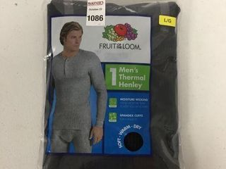 FRUIT OF THE lOOM MENS THERMAl HENlEY   lARGE