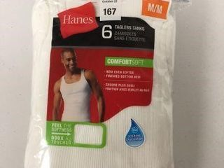 6 PCS HANES TAGlESS TANKS SIZE MEDIUM