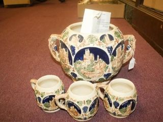 Wassail Bowl w 3 Mugs   Made in Germany