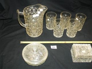 Mt Vernon  Pitcher and 5 glasses  etcIJ
