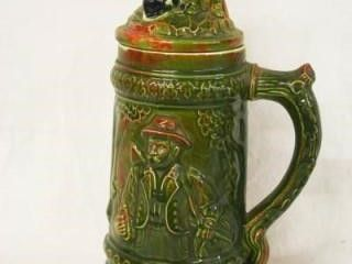Ceramic Stein with Hunter  Dog and Elk