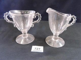 Candlewick Footed Creamer Sugar