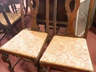 Wooden Chairs w Fabric Seats  2