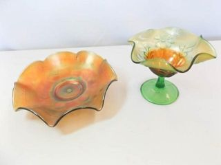 Carnival Glass Green Bowls  2