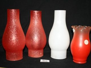 Glass Chimneys for oil lamps  3 red 1 white