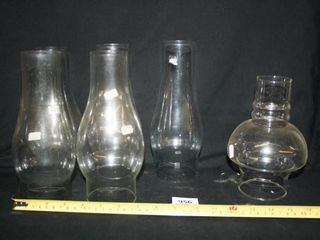 Glass Oil lamp Chimneys  4 alike  2 others