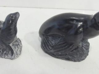 BlACK RESIN SEAl FIGURINES BY WOlF SCUlPTURES