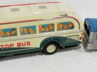 1950 S  NONSTOP BUS  BATTERY OPERATED TIN TOY BUS