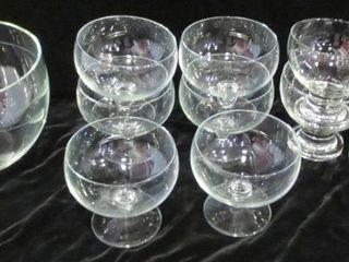 GlASS PARFAIT DISHES AND 7  GlASS BOWl WITH ETCHED
