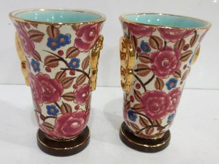 PAIR OF HAND PAINTED ART DECO FlORAl DESIGN VASES