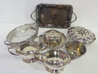 SIlVER PlATE  SERVING DISHES  CREAM AND SUGAR POTS