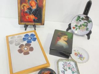 ClOISONNE DISH  TRINKET BOX AND DISHES  RUSSIAN
