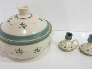 lIDDED POTTERY CASSEROlE  SIGNED  PAIR OF 3