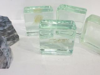 GlASS CUBES  5 X 5 X 5  POlISHED STONE BOOKENDS