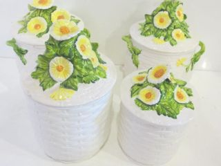 HAND PAINTED  FlORAl SET OF CERAMIC CANISTERS