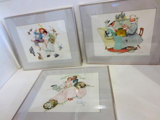FRAMED NORMAN ROCKWEll PRINTS   20 5 X 17