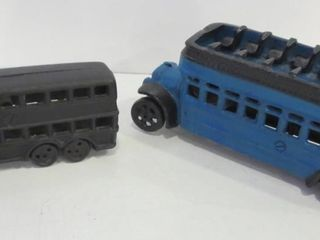 PAIR OF CAST IRON BUSES