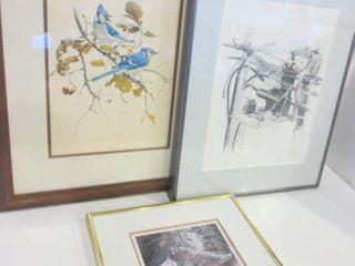 BlUE JAYS BY M G  lOATES  18 X 23 PAIR OF SIGNED