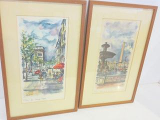 PAIR OF PRINTS BY ARNO   CHAMPS ElYSEES  PlACE DE