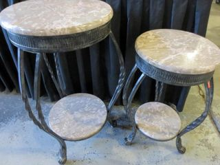 PAIR OF WROUGHT IRON AND MARBlE 2 TIER SIDE