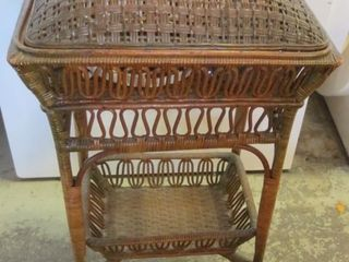 WICKER SEWING BASKET WITH CONTENTS