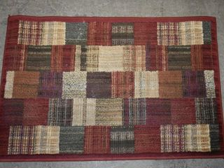 RED  BlUE  CREAM SQURE PATTERN AREA RUG