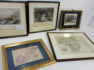 BARTlETT PRINTS 11 X 11  AND 10 X 8  FRAMED MAPS